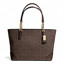 COACH MADISON OP ART NEEDLEPOINT FABRIC EAST/WEST TOTE - LIGHT GOLD/MAHOGANY - F26806