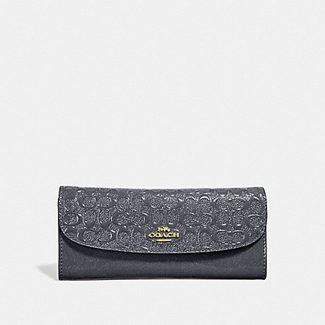 COACH SOFT WALLET IN SIGNATURE LEATHER - MIDNIGHT/LIGHT GOLD - F26814