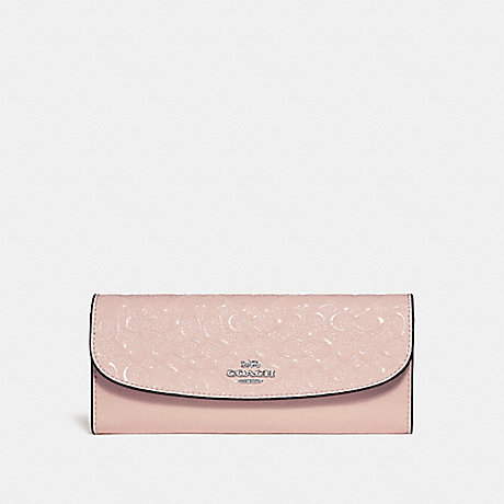 COACH SOFT WALLET IN SIGNATURE LEATHER - SILVER/LIGHT PINK - f26814