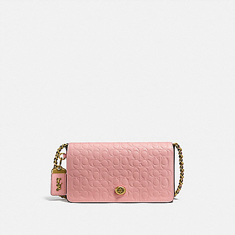 COACH DINKY IN SIGNATURE LEATHER WITH FLORAL BOW PRINT INTERIOR - PEONY/OLD BRASS - F26824