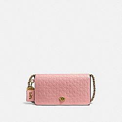 DINKY IN SIGNATURE LEATHER WITH FLORAL BOW PRINT INTERIOR - PEONY/OLD BRASS - COACH F26824