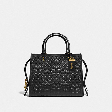 COACH ROGUE 25 IN SIGNATURE LEATHER WITH FLORAL BOW PRINT INTERIOR - BLACK/OLD BRASS - F26839