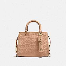 ROGUE 25 IN SIGNATURE LEATHER WITH FLORAL BOW PRINT INTERIOR - BEECHWOOD/OLD BRASS - COACH F26839