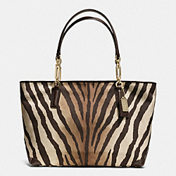 COACH MADISON ZEBRA PRINT EAST/WEST TOTE - LIGHT GOLD/BROWN MULTI - F26882
