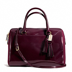 COACH PINNACLE POLISHED CALF LEATHER LARGE HALEY SATCHEL - GOLD/MERLOT - F26931
