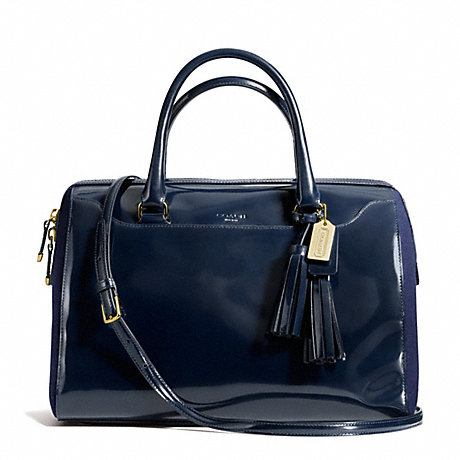 COACH f26931 PINNACLE POLISHED CALF LEATHER LARGE HALEY SATCHEL GOLD/NAVY