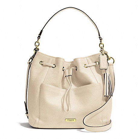 COACH AVERY LEATHER DRAWSTRING - BRASS/STONE - f27003