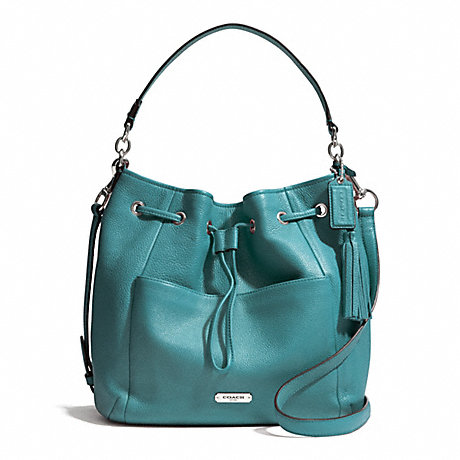 COACH AVERY LEATHER DRAWSTRING - SILVER/MINERAL - f27003