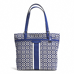 COACH SIGNATURE STRIPE 6CM TOTE - SILVER/NAVY/NAVY - F27008