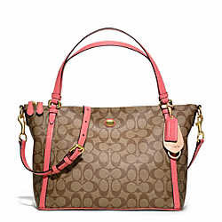 COACH PEYTON SIGNATURE EAST/WEST CONVERTIBLE SHOULDER BAG - BRASS/KHAKI/CORAL - F27020