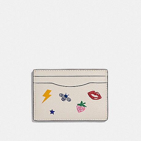 COACH CARD CASE WITH ALLOVER MOTIFS - CHALK MULTI/SILVER - f27035