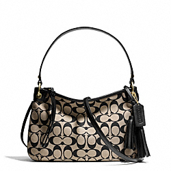 COACH PRINTED SIGNATURE DOUBLE GUSSET CROSSBODY - BRASS/KHAKI BLACK/BLACK - F27044