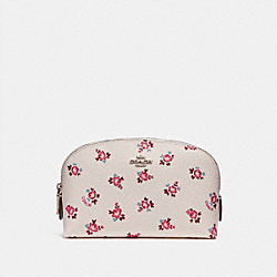 COSMETIC CASE 17 WITH FLORAL BLOOM PRINT - CHALK FLORAL BLOOM/SILVER - COACH F27092