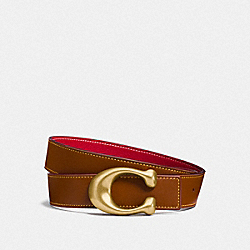 SIGNATURE BUCKLE REVERSIBLE BELT, 32MM - 1941 SADDLE/1941 RED - COACH F27099
