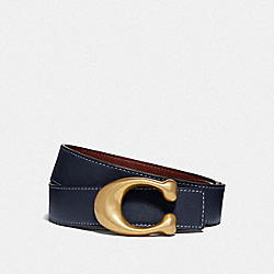 SIGNATURE BUCKLE REVERSIBLE BELT, 32MM - MIDNIGHT NAVY/WINE - COACH F27099