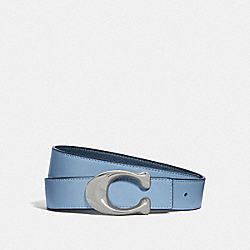 SIGNATURE BUCKLE REVERSIBLE BELT, 32MM - LIGHT BLUE/DENIM - COACH F27099