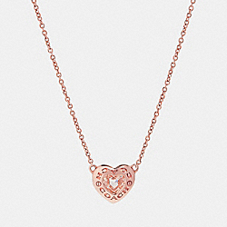 OPEN CIRCLE HEART NECKLACE - ROSEGOLD - COACH F27135