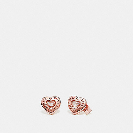COACH f27137 OPEN CIRCLE HEART STUD EARRINGS ROSEGOLD