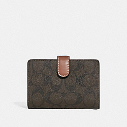 MEDIUM CORNER ZIP WALLET IN COLORBLOCK SIGNATURE CANVAS - BROWN/BLUSH TERRACOTTA/LIGHT GOLD - COACH F27147