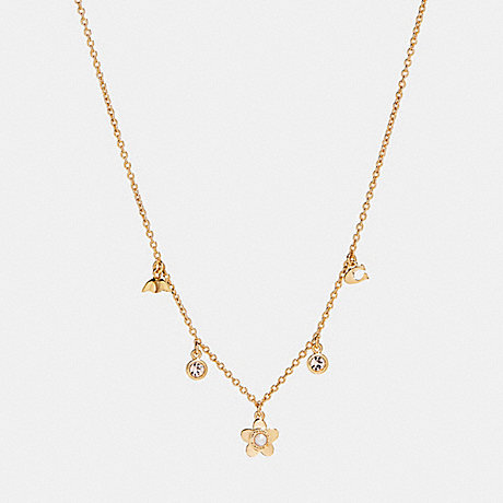 COACH BLOOMING FLORA CHARM NECKLACE - GOLD - f27170