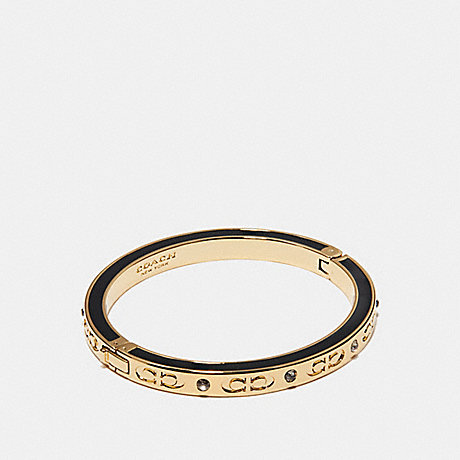 COACH KISSING C HINGED BANGLE - BLACK/GOLD - f27177