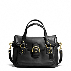 COACH CAMPBELL LEATHER SMALL FLAP SATCHEL - BRASS/BLACK - F27231