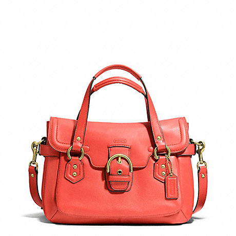 COACH f27231 CAMPBELL LEATHER SMALL FLAP SATCHEL BRASS/HOT ORANGE