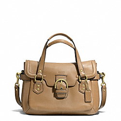 COACH CAMPBELL LEATHER SMALL FLAP SATCHEL - BRASS/CAMEL - F27231
