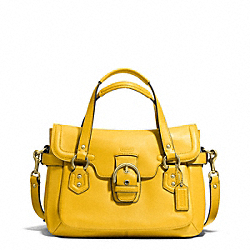 COACH CAMPBELL LEATHER SMALL FLAP SATCHEL - BRASS/SUNFLOWER - F27231