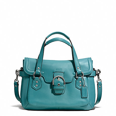 COACH f27231 CAMPBELL LEATHER SMALL FLAP SATCHEL SILVER/MINERAL