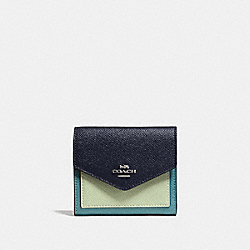 SMALL WALLET IN COLORBLOCK - MARINE MULTI/SILVER - COACH F27252
