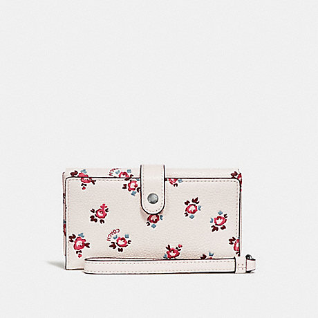 COACH PHONE WRISTLET WITH FLORAL BLOOM PRINT - CHALK FLORAL BLOOM/SILVER - F27277