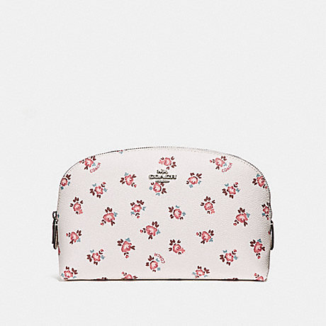 COACH COSMETIC CASE 22 WITH FLORAL BLOOM PRINT - CHALK FLORAL BLOOM/SILVER - F27279