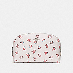 COSMETIC CASE 22 WITH FLORAL BLOOM PRINT - CHALK FLORAL BLOOM/SILVER - COACH F27279