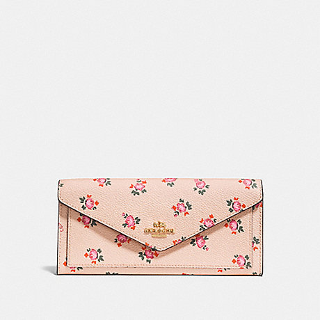 COACH SOFT WALLET WITH FLORAL BLOOM PRINT - BEECHWOOD FLORAL BLOOM/LIGHT GOLD - F27280