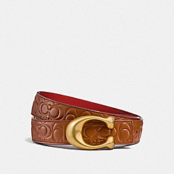 SIGNATURE BUCKLE REVERSIBLE BELT, 32MM - 1941 SADDLE/1941 RED - COACH F27292