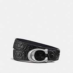 SIGNATURE BUCKLE REVERSIBLE BELT, 32MM - BLACK/NAVY NICKEL - COACH F27292