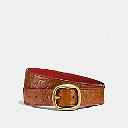 SIGNATURE BUCKLE REVERSIBLE BELT, 32MM - 1941 SADDLE/1941 RED - COACH F27293