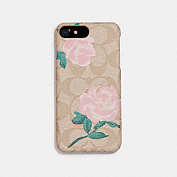 SIGNATURE ROSE PRINT IPHONE CASE - IVORY BLUSH - COACH F27295