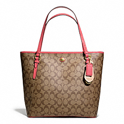 COACH PEYTON SIGNATURE ZIP TOP TOTE - BRASS/KHAKI/CORAL - F27348
