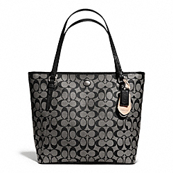 COACH PEYTON SIGNATURE ZIP TOP TOTE - SILVER/BLACK/WHITE/BLACK - F27348
