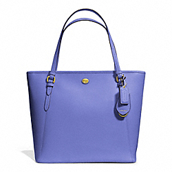 PEYTON LEATHER ZIP TOP TOTE - f27349 - BRASS/PORCELAIN BLUE