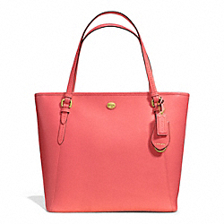 COACH PEYTON LEATHER ZIP TOP TOTE - BRASS/CORAL - F27349