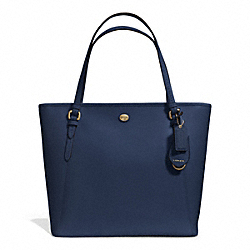 COACH PEYTON LEATHER ZIP TOP TOTE - INK BLUE - F27349