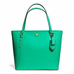 COACH PEYTON ZIP TOP TOTE IN LEATHER - BRASS/JADE - F27349