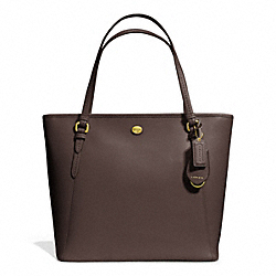 COACH PEYTON LEATHER ZIP TOP TOTE - BRASS/MAHOGANY - F27349