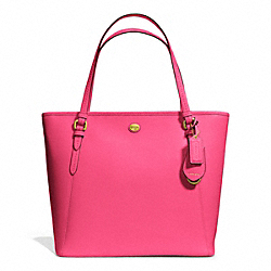 PEYTON ZIP TOP TOTE IN LEATHER - f27349 - BRASS/POMEGRANATE