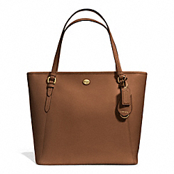 COACH PEYTON LEATHER ZIP TOP TOTE - BRASS/SADDLE - F27349