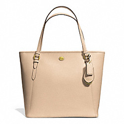 PEYTON LEATHER ZIP TOP TOTE - f27349 - BRASS/SAND