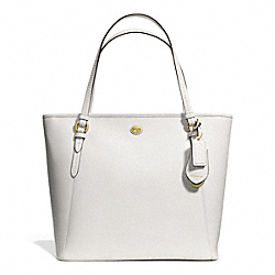 COACH PEYTON LEATHER ZIP TOP TOTE - BRASS/WHITE - F27349